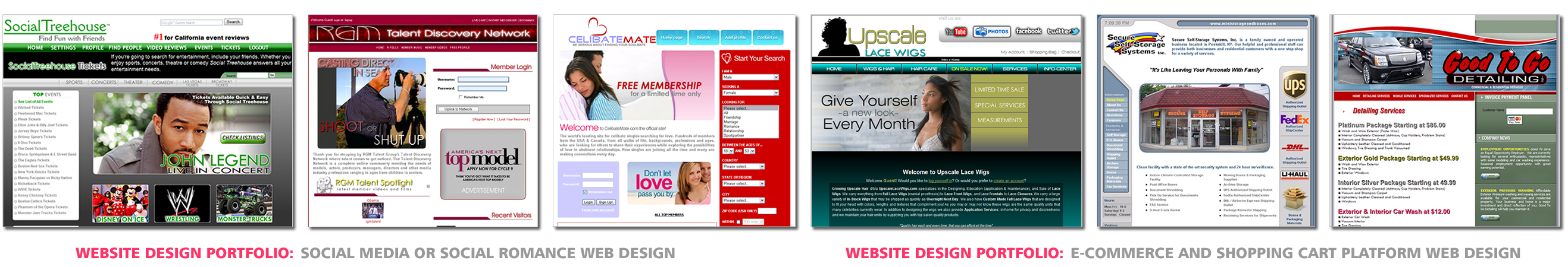 Social Media or Social Romance Web Design, E-Commerce and Shopping Cart Platform Web Design