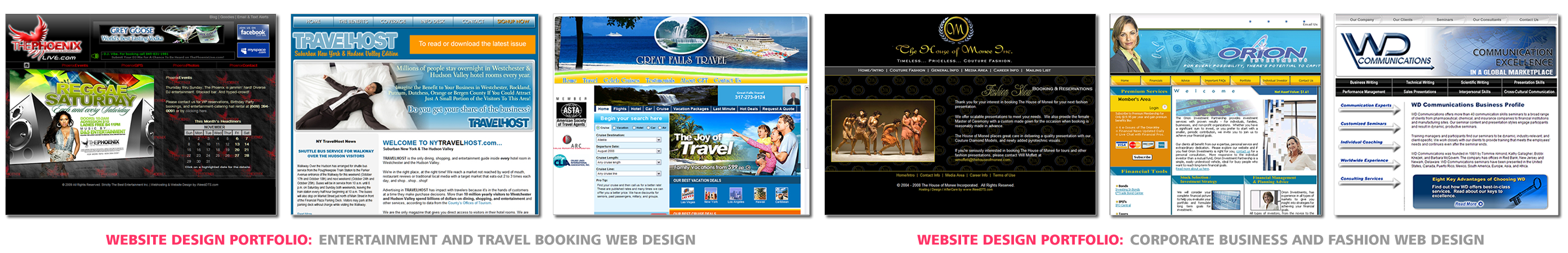 Entertainment or Travel Booking Web Design, Corporate Business and Fashion Web Design